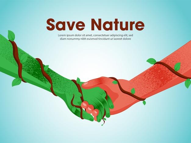 Salvare l'illustrazione del concetto di natura