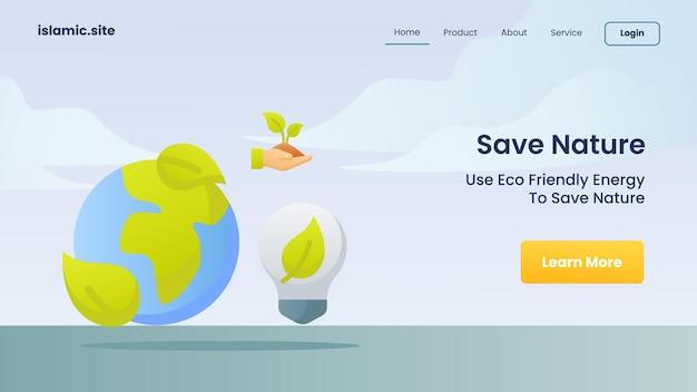Risparmiare la natura utilizzare l'energia eco-compatibile per salvare la natura per l'illustrazione di progettazione di vettore di fondo piatto isolato della homepage di atterraggio del modello di sito web