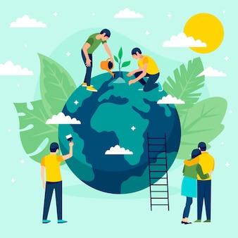 Salvare l'illustrazione del concetto di pianeta con persone e globo