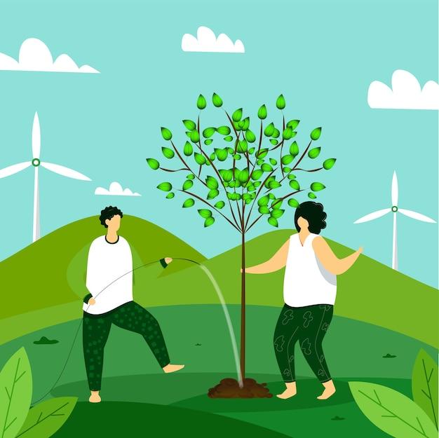Salvare l'illustrazione del concetto di pianeta
