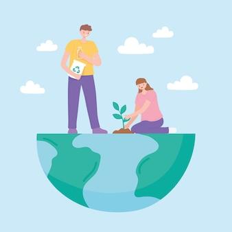 Salvare il pianeta, coppia sulla semina della mappa della terra di metà e riciclare l'illustrazione