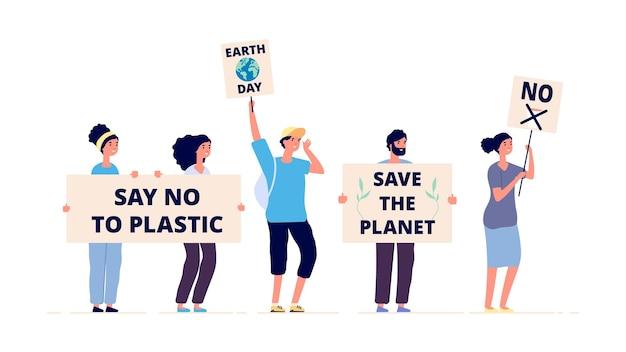 Salva il pianeta. giornata della terra, attivisti ambientali con cartelli. dimostrazione ecologica, cambiamento climatico globale