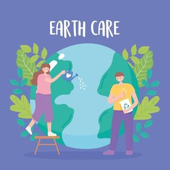 Salvare il pianeta, la ragazza della mappa della terra con l'annaffiatoio e il ragazzo con i prodotti di riciclo, illustrazione di cura del globo