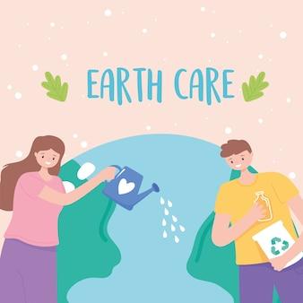 Salvare il pianeta, la ragazza della mappa della terra con l'annaffiatoio e il ragazzo con l'illustrazione dei prodotti di riciclo