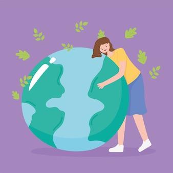Salvare il pianeta, le foglie che cadono e la ragazza con l'illustrazione della mappa della terra