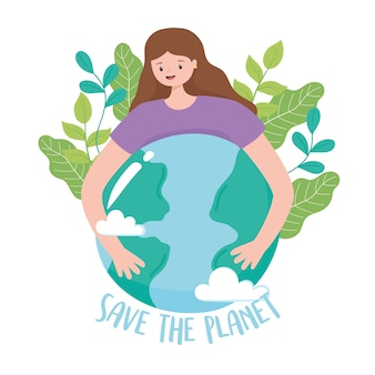 Salvare il pianeta, ragazza che abbraccia la mappa della terra con foglie fumetto illustrazione vettoriale