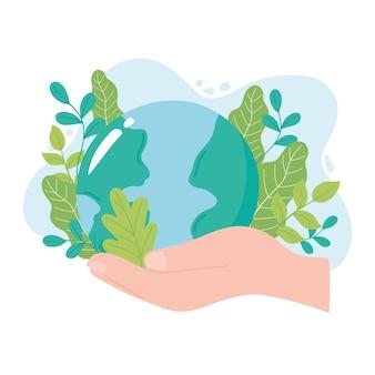 Salvare il pianeta, mano che tiene la mappa della terra con l'illustrazione della foglia