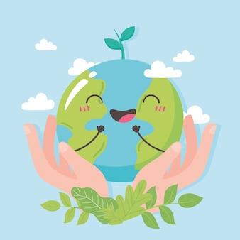 Salva il pianeta, le mani con la mappa della terra carina e l'illustrazione del fumetto delle foglie