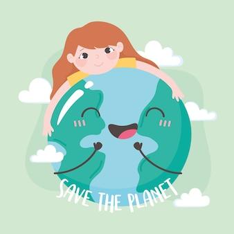 Salvare il pianeta, bambina che abbraccia l'illustrazione della mappa della terra
