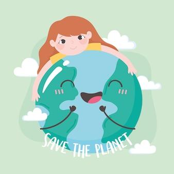 Salvare il pianeta, bambina che abbraccia l'illustrazione di vettore della mappa della terra