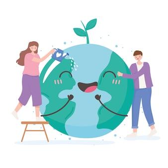 Salvare il pianeta, l'uomo e la donna con l'illustrazione di vettore del fumetto della mappa della terra felice