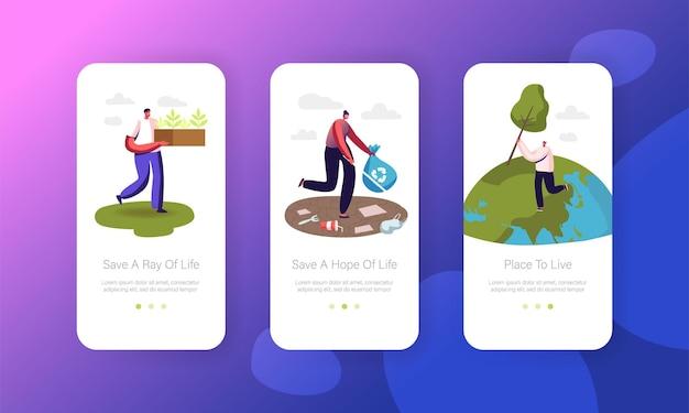 Salva il modello di schermata della pagina dell'app mobile planet.
