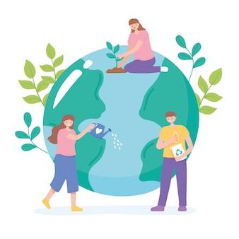 Salva il pianeta, le persone si prendono cura della terra con l'illustrazione di riciclo, irrigazione e semina