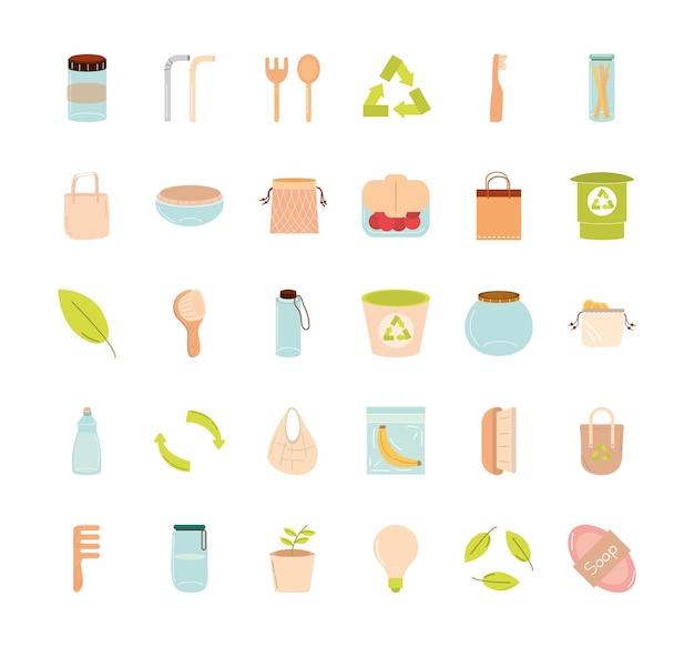 Salvare il pianeta rifiuti zero e il design della collezione di icone eco, riciclare ecologia e illustrazione a tema verde