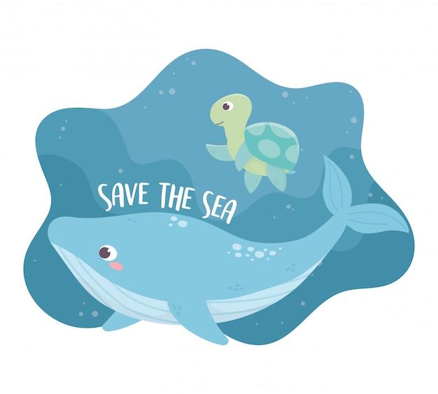 Salvare il disegno di cartone animato ecologia balena e tartaruga ambiente