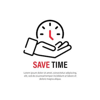 Icona di risparmio di tempo. gestione del tempo. concetto di affari. vettore su sfondo bianco isolato. env 10.