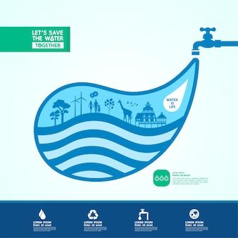 Salvare l'acqua per la bandiera del mondo di ecologia verde