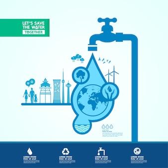 Salvare l'acqua per l'illustrazione del mondo di ecologia verde