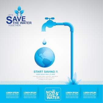 Risparmia il concetto di vettore dell'acqua avvia il risparmio idrico