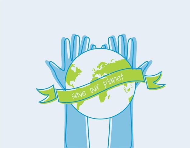 Salva il mondo concetto di ecologia. sagome di mani alzate adatto per poster volantini banner per la giornata della terra illustrazione vettoriale isolato su sfondo