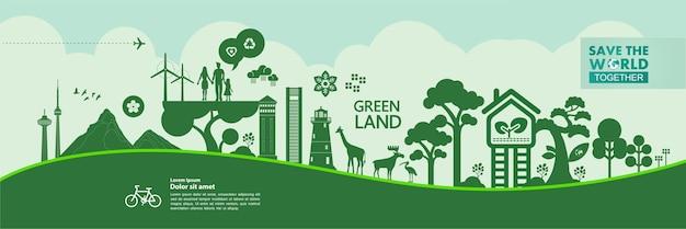 Salvare il mondo insieme illustrazione ecologia verde.