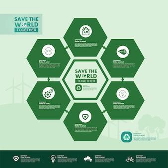 Salvare il mondo insieme verde ecologia infografica