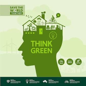 Salvare il mondo insieme ecologia verde.