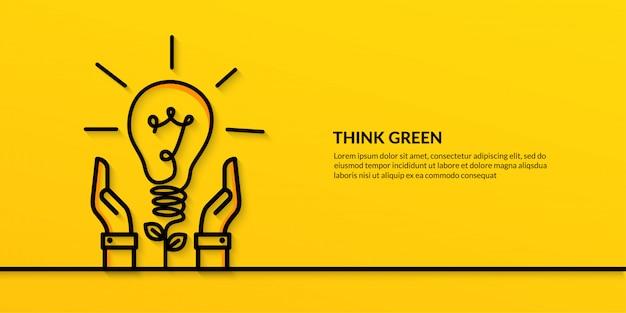 Salvare il mondo con la mano che tiene la lampadina, banner ecologia natura piatta