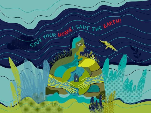Salva la tua casa! salva la terra! manifesto ecologico concettuale di vettore.