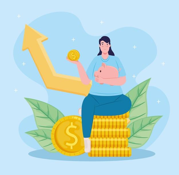 Risparmio salvadanaio femminile di sollevamento del risparmiatore seduto in monete con l'illustrazione della freccia di statistiche