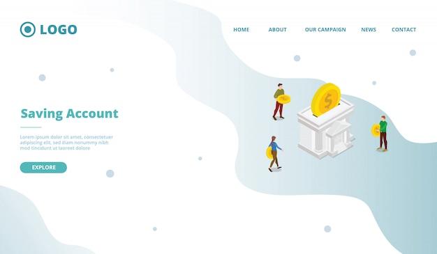 Account di risparmio per il modello di pagina di destinazione della home page del sito web della campagna web della campagna con stile moderno fumetto piatto.