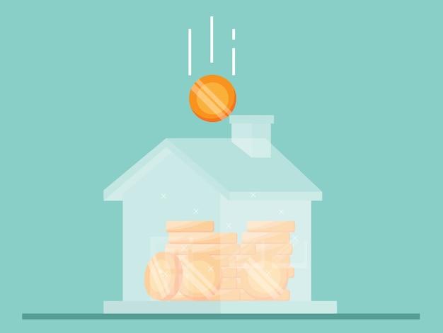 Risparmio per l'illustrazione domestica piatta