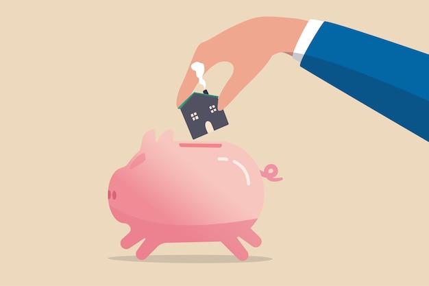 Risparmio per casa, mutuo o mutuo per la casa, raccogliere denaro per il concetto di acconto