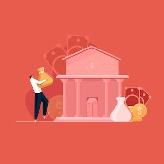Concetto di risparmio e investimento persona con denaro che cammina verso la banca portando contanti all'ufficio della banca