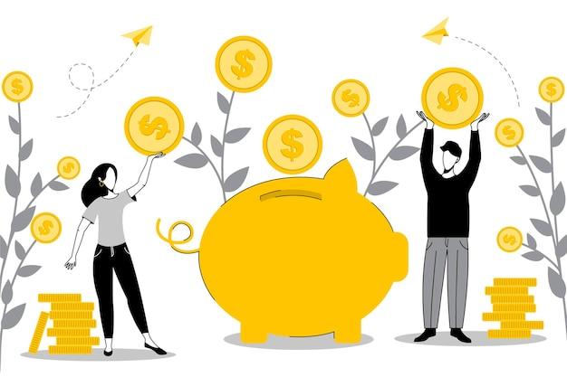Illustrazione di concetto di concetto di risparmio di denaro