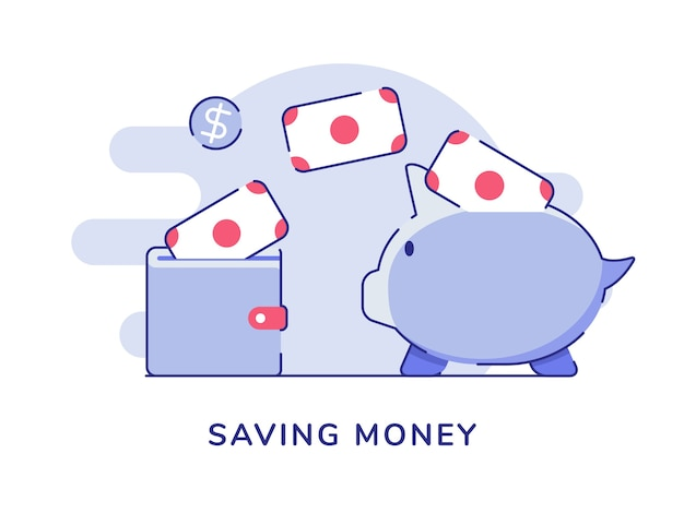 Risparmio di valuta denaro messo nel portafoglio salvadanaio Vettore Premium