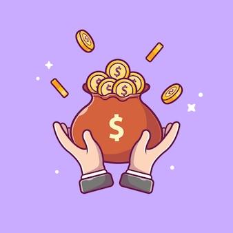 Icona di risparmio di denaro. borsa dei soldi della tenuta e della mano, icona di affari isolata