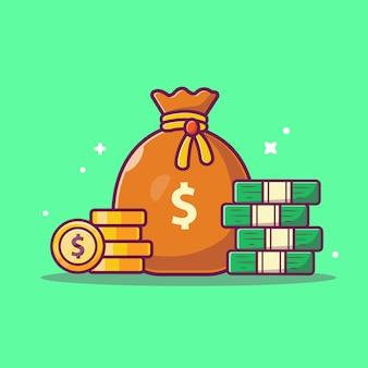 Icona di risparmio di denaro. pila di monete e borsa dei soldi, icona di affari isolata