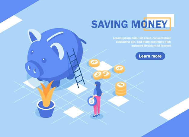 Risparmio di denaro, concetto di risparmio di denaro con carattere