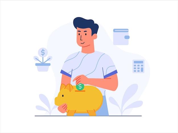 Risparmio di denaro nel salvadanaio con illustrazione di stile piatto moderno