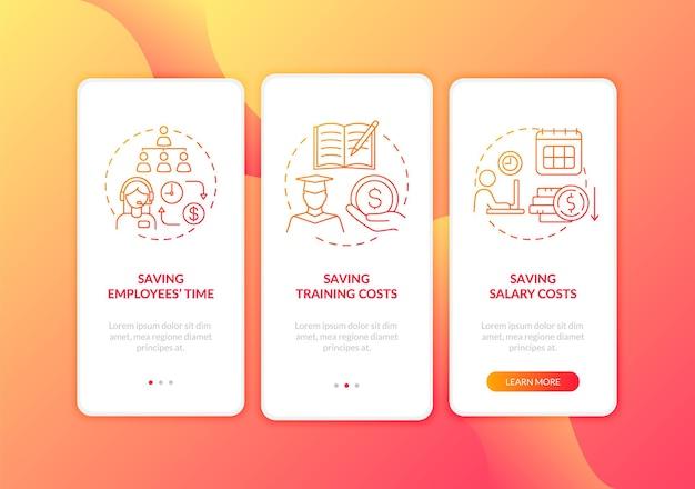 Risparmio di denaro sulla schermata della pagina dell'app mobile onboarding rossa sul lavoro con illustrazioni di concetti