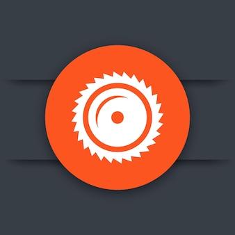 Icona della segheria, lama per sega circolare, segatura, illustrazione vettoriale