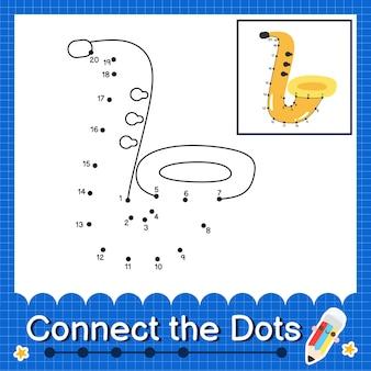 Saxophone kids collega il foglio di lavoro dei punti per i bambini che contano i numeri da 1 a 20