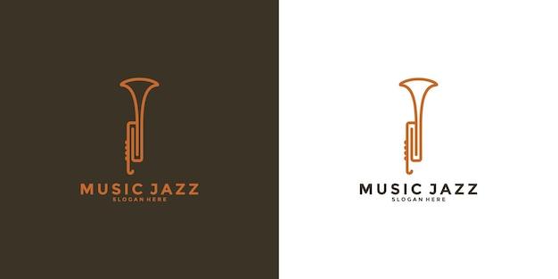 Sassofono logo design musica jazz per il tuo business Vettore Premium