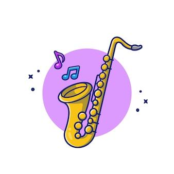 Sassofono con l'illustrazione dell'icona del fumetto delle note di musica. premio isolato concetto dell'icona dello strumento di musica. stile cartone animato piatto
