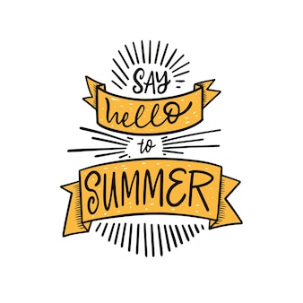 Saluta l'estate disegnata a mano colorata frase scritta illustrazione vettoriale