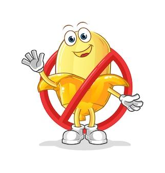 Il dire no alla mascotte della banana. cartone animato