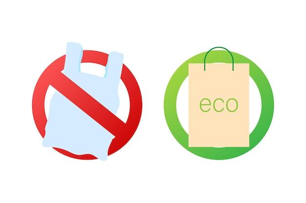 Dì no al poster dei sacchetti di plastica. la campagna per ridurre l'uso di sacchetti di plastica da mettere. illustrazione di riserva di vettore
