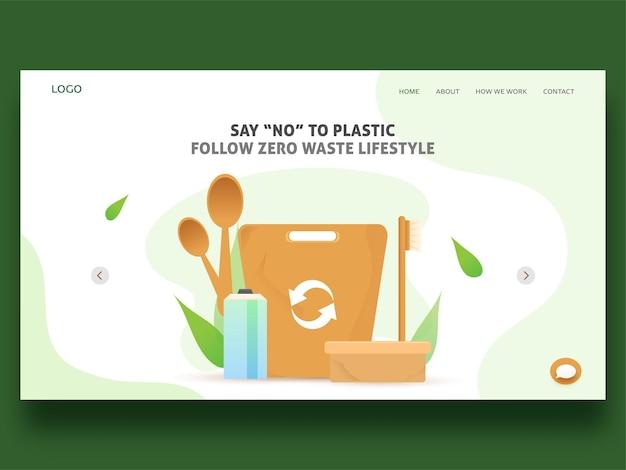 Dì no alla plastica segui la pagina di destinazione dello stile di vita a rifiuti zero