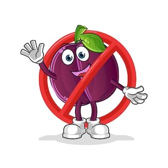 Di 'no alla mascotte di prugna. cartone animato